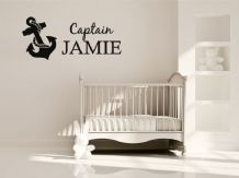 Child's Wall Art, Name & Anchor Image,Wall Art Sticker, Vinyl Decal,Transfer.
